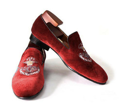 Handmade Men's Red Fashion Embroidered Slip Ons Loafer Suede Shoes image 3