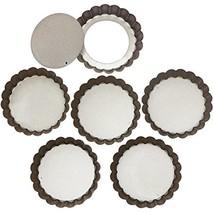 Webake 4 Inch Mini Tart Pan Set of 6, Non-Stick Quiche Pan Removable Bot... - $14.50