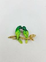 Vintage Love birds nest brooch pin green enamel - $22.77
