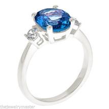 BLUE TOPAZ & DIAMOND ENGAGEMENT RING 3-STONE OVAL SHAPE WHITE GOLD 3.53 ... - £846.62 GBP