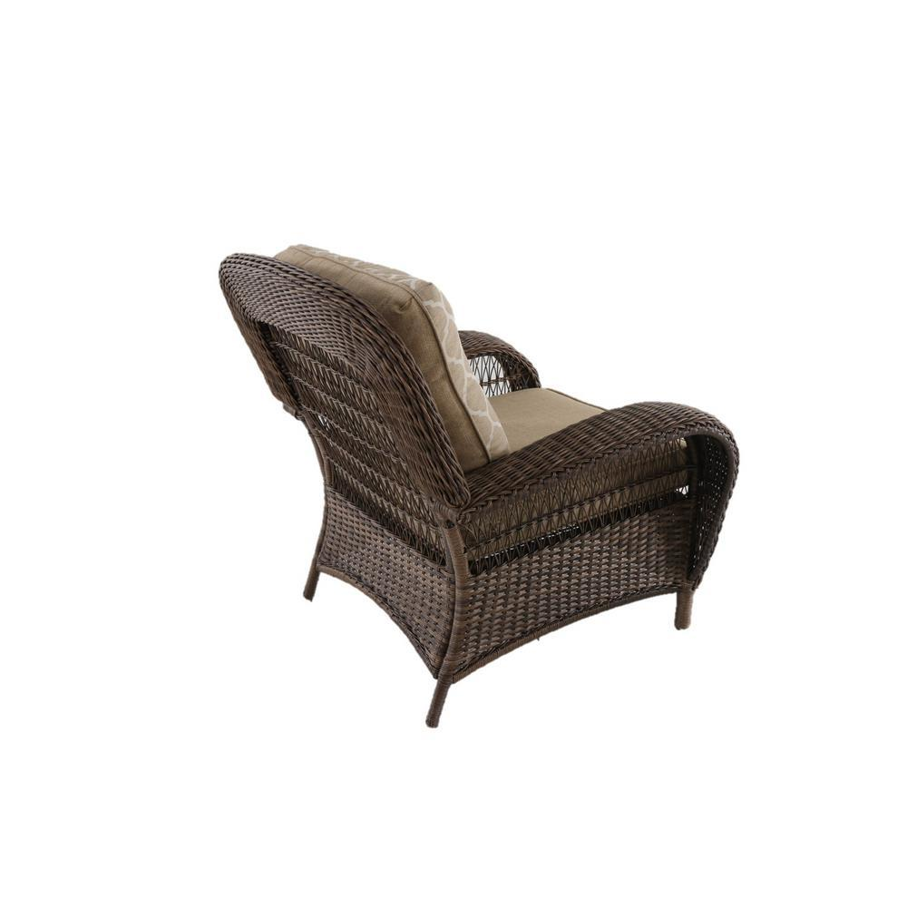 Beacon Park Stationary Wicker Outdoor Lounge Chair with Toffee Cushions