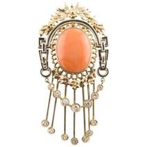 Handcrafted Brooch Diamonds,Orange Coral Button,14 Karat Rose Gold  - $3,830.00