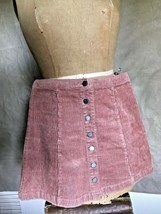 Women Shrimp Stretch Corduroy Mini Skirt Forever 21 Wide Wale Cord Snaps Front S - $24.07
