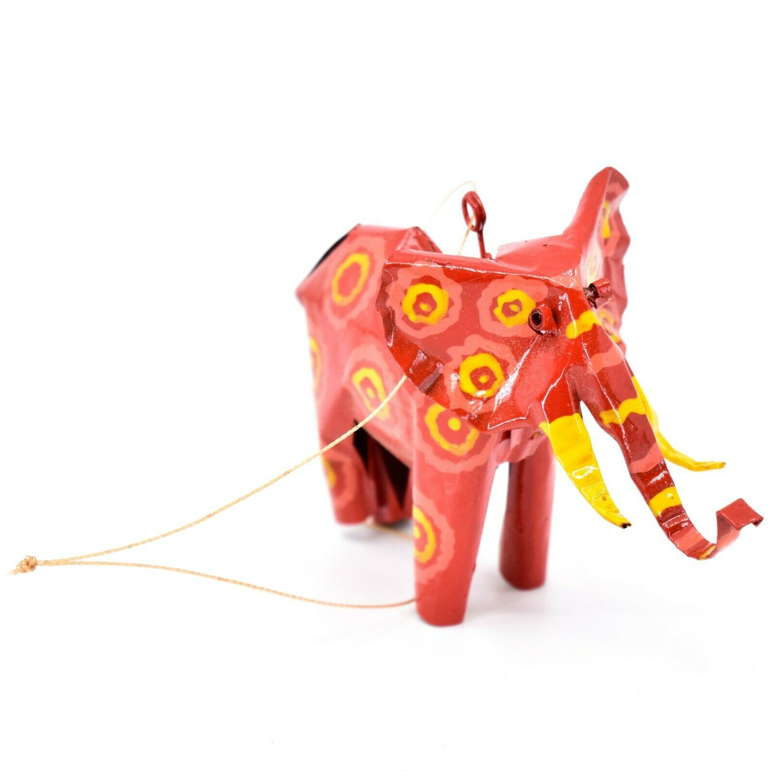 Handcrafted Painted Colorful Recycled Aluminum Tin Can Elephant Ornament