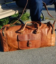 "New 24"" Men's Rustic Leather Vintage Duffel Gym Weekender Overnight Trav... - $74.87"