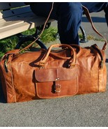 "New 24"" Men's Rustic Leather Vintage Duffel Gym Weekender Overnight Trav... - $74.87"