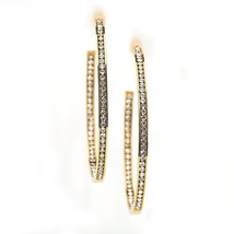 UNITED ELEGANCE Gold Tone Hoop Earrings With Sparkling Swarovski Style Crystals  image 3