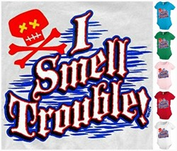 I smell trouble pirate skull baby infant bodysuit snapsuit creeper Funny... - $12.99
