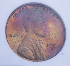 1957 D MS65 RB  LINCOLN WHEAT CENT *RAINBOW  TONING * 012 - $44.10