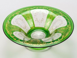 Green w Gold Encrusted Rococo Intaglio Cut to Clear Bowl, Antique St Lou... - $220.50