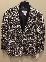 Womens Blazer Jacket Button Front COVINGTON  Black White Zebra Size Large - NWT - $19.55