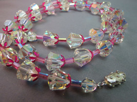"Antique Cut Crystal Necklace Unique Tubular Enamel Flower 25"" Pink AB Beaded - $79.19"