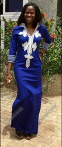 Odeneho Wear Ladies Blue Polished Cotton/ White Embroidery. African Clothing.XL - $88.11