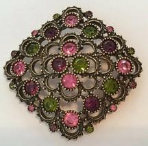 Vintage Sarah Coventry Antiqued Gold Pink Green Purple Rhinestone Brooch - $19.75
