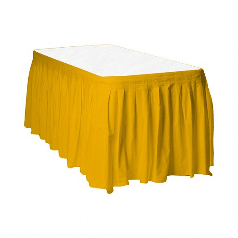 "2 Plastic Table Skirts 13' X 29"" Streches-19' - Harvest Yellow"