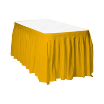 "2 Plastic Table Skirts 13' X 29"" Streches-19' - Harvest Yellow - $12.87"