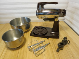 Vintage Sunbeam Vista Mixmaster Brown Chrome 12... - $121.19