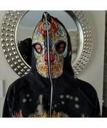 Sour and Cream Sweatshirt Hooded Jacket Junior Size S Black Skull Rhines... - $34.64