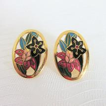Vintage Rose Peach Blue Green Enamel Floral Cut Out Earrings Pierced Ova... - $13.49
