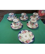 Beautiful  Handpainted DEMITASSEE 5 CUPS & SAUCERS & 1 FREE Saucer-4 Spoons - $25.33
