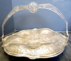 Odd Antique Queen City Silver Plate Swing Handle Footed Serving Plate - $14.96