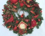 "Vintage Red Bird Christmas Ornament Wreath 23"" 30784 Feathers Birds Evergreen"