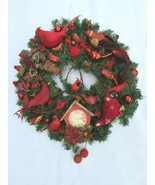 "Vintage Red Bird Christmas Ornament Wreath 23"" 30784 Feathers Birds Ever... - $222.74"