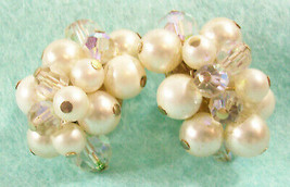 Richelieu Pearl AB Crystal Bead Cluster Clip Earrings Aurora Borealis Vi... - $12.82
