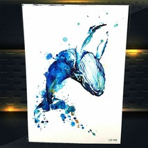 Tattoo Water Temporary Sticker Sexy Waterproof Blue Color Whale Women Makeup - $3.24