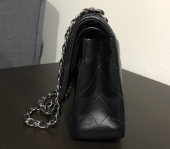 100% Authentic Chanel BLACK QUILTED LAMBSKIN MEDIUM CLASSIC DOUBLE FLAP BAG SHW image 9