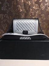 AUTH CHANEL LIMITED EDITION METALLIC SILVER PERFORATED LAMBSKIN MEDIUM BOY BAG  image 10