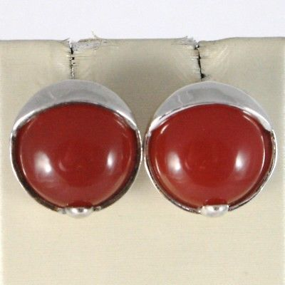 925 STERLING SILVER PENDANT EARRINGS WITH BIG ROUND CABOCHON RED CARNELIAN
