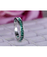 1.50 Ct Princess Cut Green Emerald Wedding Band Ring 14k White Gold For ... - $77.22