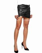 Belted Gathered Women Leather Skirt