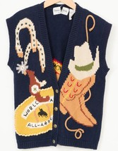Sharon Young Sweater Vest M World Champion Rodeo Spurs Lasso Boots Cowbo... - $29.69
