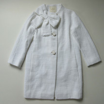NWT Kate Spade Cotton Tweed Dorothy in Fresh White Bow Topper Coat 0 $548 - $200.00