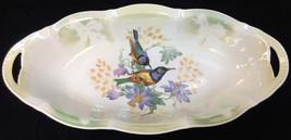 Oval Dish Bowl Bird Flower Green Yellow Ceramic China Germany Made 12x6 - $14.84