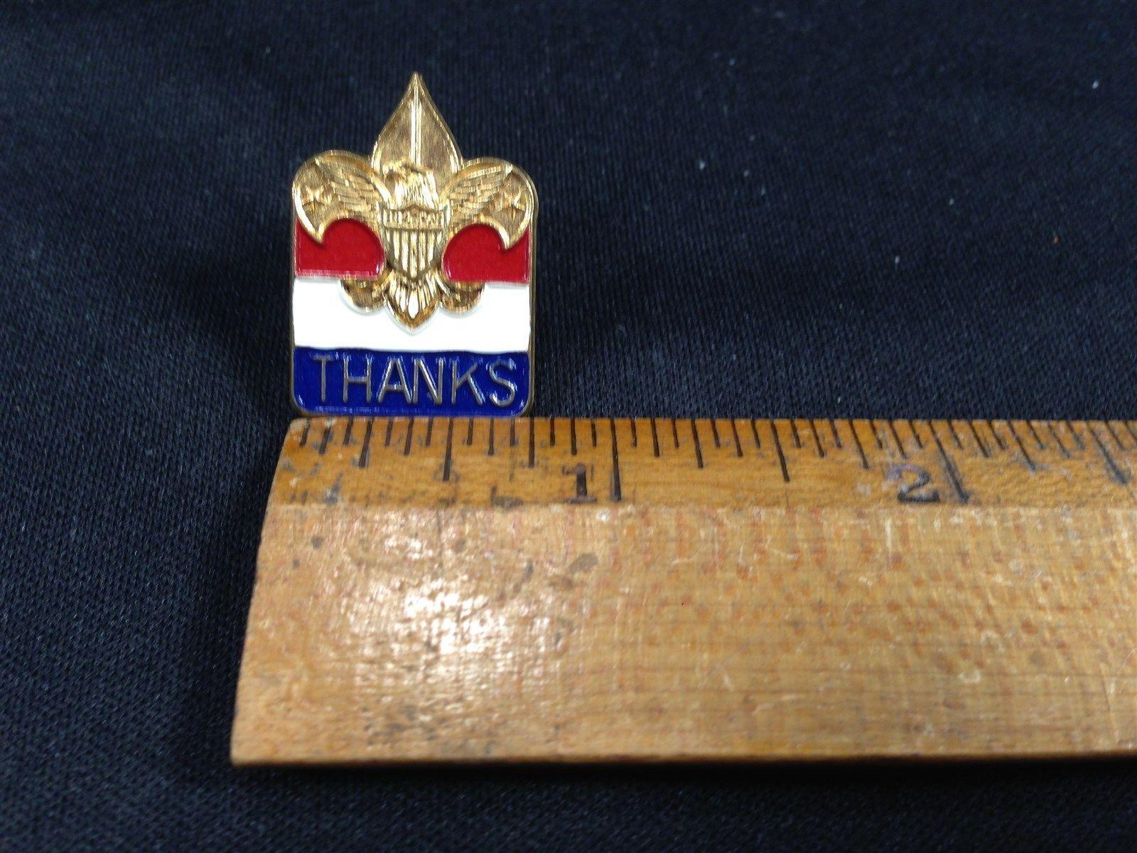Vintage Gold Red White Blue Colored Fluer De Lis Tie Tack Pin Thanks Boy Scouts