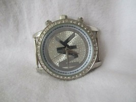 Michael Kors Watch Round Face Silver Toned Sparkly Rhinestones Water Resist - $89.00