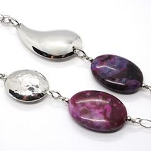 Silver 925 Necklace, Jade Purple, Chain Multiple Strings, Pendant Cascade, Drop image 4