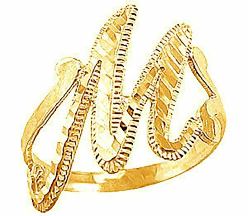 LOOK New Gold plated letter Initial M Elegant ring jewelry