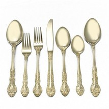 Sarah Ann 24K Gold Electroplate Flatware W/SERVING 52 PIEC Set MADE IN J... - $349.30