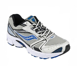 Saucony Baby Cohesion Boys Leather, Silver and Blue Sneaker, 8.5M - $29.69