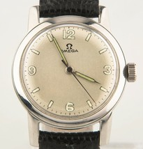 Vintage Omega Ω Stainless Steel Men's Hand-Winding Watch w/ Leather Strap c 1947 - $1,088.01
