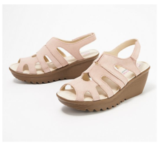 Skechers Parallel Stylin' Suede Peep-toe Slingback Wedges, Blush, US 10 M, EUC - $29.69