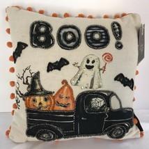 Halloween Ghost Jack O Lantern Boo Throw Pillow Spooky Holiday Home Deco... - £18.89 GBP