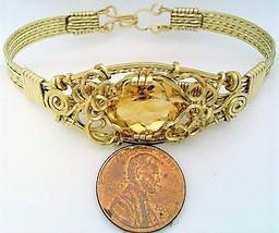 Citrine Gold Wire Wrap Bracelet Sz. 7.5 - $78.00