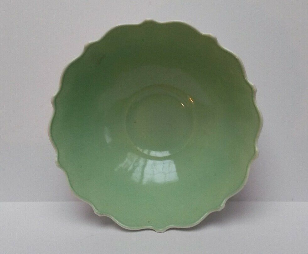 Milk Glass Bowl Mint Green Cased Anchor Hocking Oyster and Pearl Scalloped Rim image 2