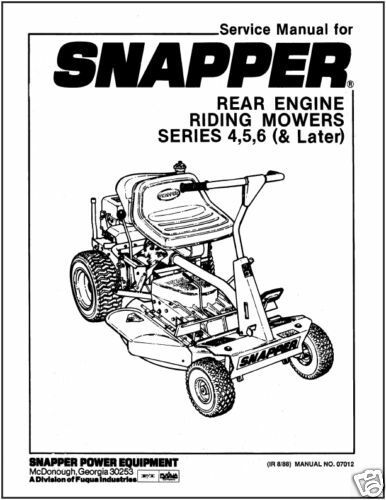Primary image for Snapper Rear Engine Riding Mower Series 4,5,6 (& Later)