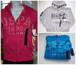 Kids POLO Sweatshirt Hooded Pink  Turquoise Gray   8  8/10 10/12 12/14, ... - $5.50